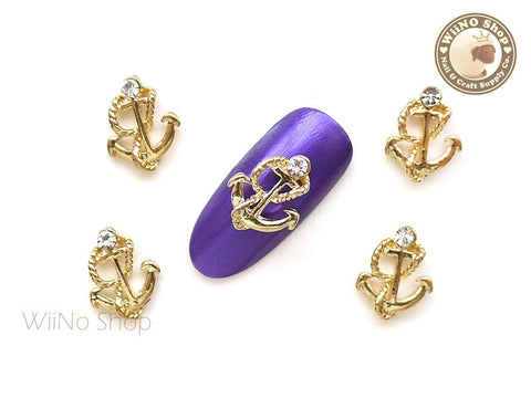 Gold Anchor Nail Metal Charm Nail Art - 2 pcs (CAN03G)