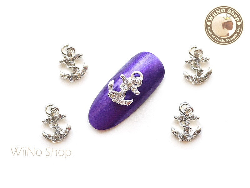 Crystal Silver Anchor Nail Metal Charm Nail Art - 2 pcs (CAN04S)