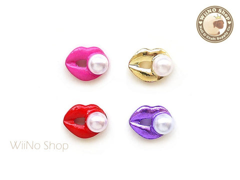 Mixed Color Pearl Lips Nail Metal Charm - 4 pcs
