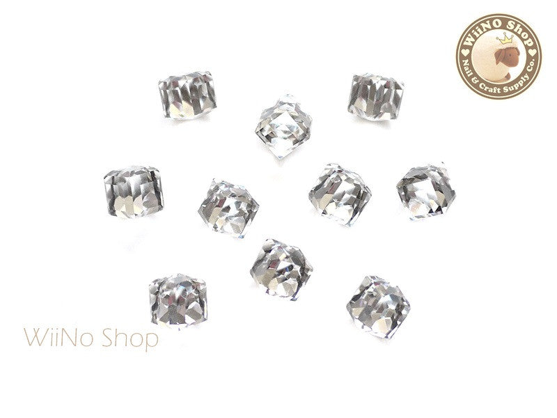 6mm Clear 3D Square Cube Crystal Rhinestone - 5 pcs