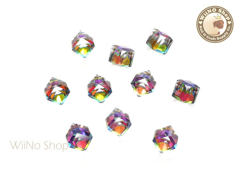 6mm AB Rainobow 3D Square Cube Crystal Rhinestone - 5 pcs