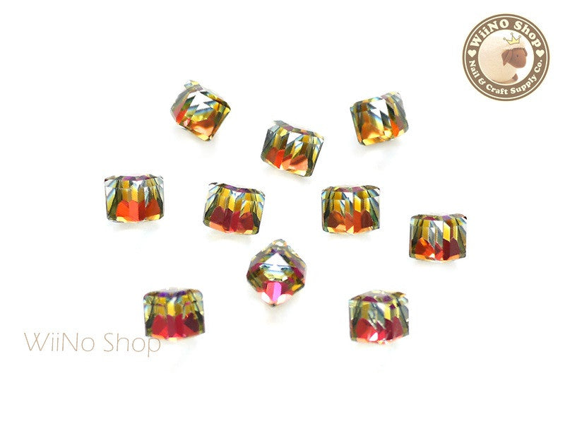 6mm Purple Rainobow 3D Square Cube Crystal Rhinestone - 5 pcs