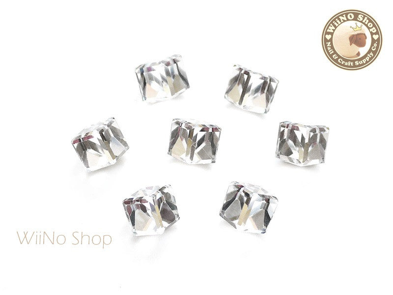 8mm Clear 3D Square Cube Crystal Rhinestone - 3 pcs