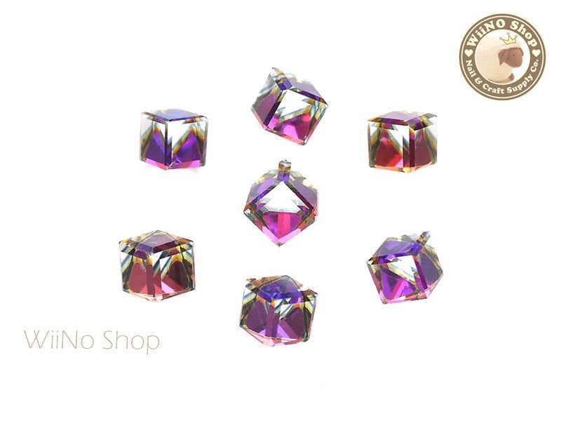 8mm Purple Rainbow 3D Square Cube Crystal Rhinestone - 3 pcs