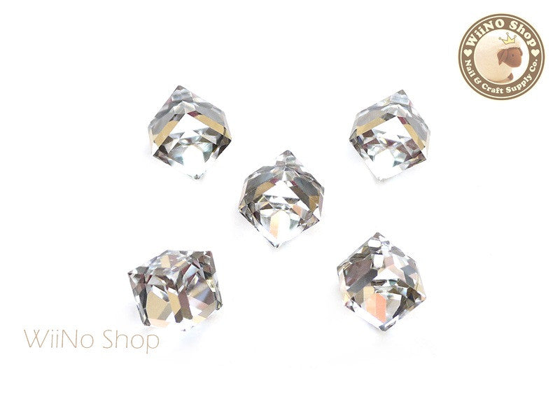 10mm Clear 3D Square Cube Crystal Rhinestone - 2 pcs