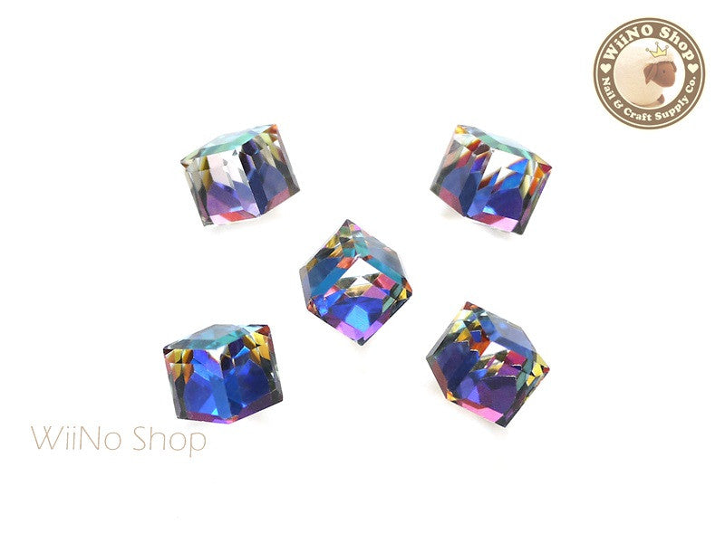 10mm Blue Rainbow 3D Square Cube Crystal Rhinestone - 2 pcs
