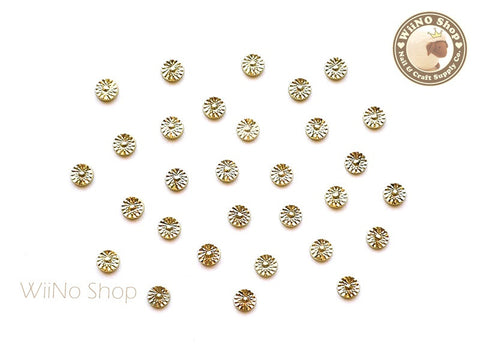 3mm Gold Cannage Pattern Round Metal Studs - 10 pcs