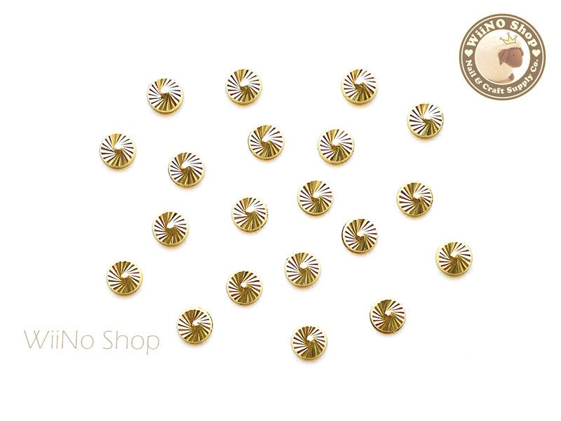 4mm Gold Swirl Pattern Round Metal Studs - 10 pcs