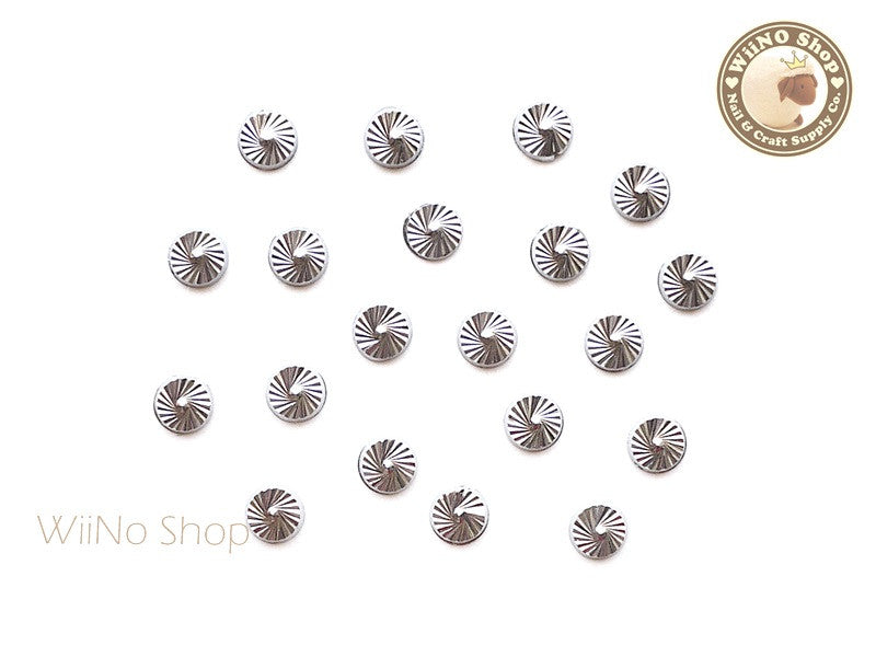 4mm Silver Swirl Pattern Round Metal Studs - 10 pcs