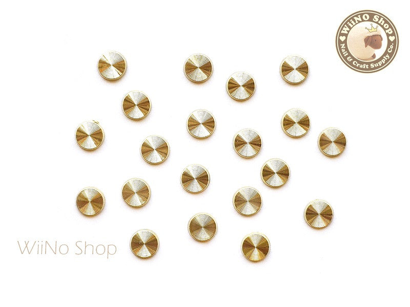 4mm Gold Concentric Pattern Round Metal Studs - 10 pcs