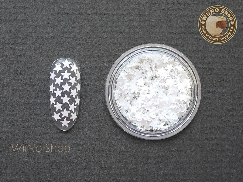 3mm White Star Nail Art Glitter