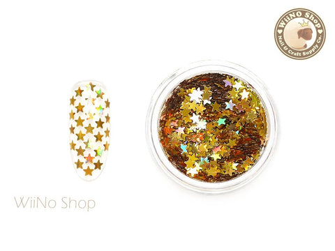 2.5mm Gold Holographic Star Nail Art Glitter