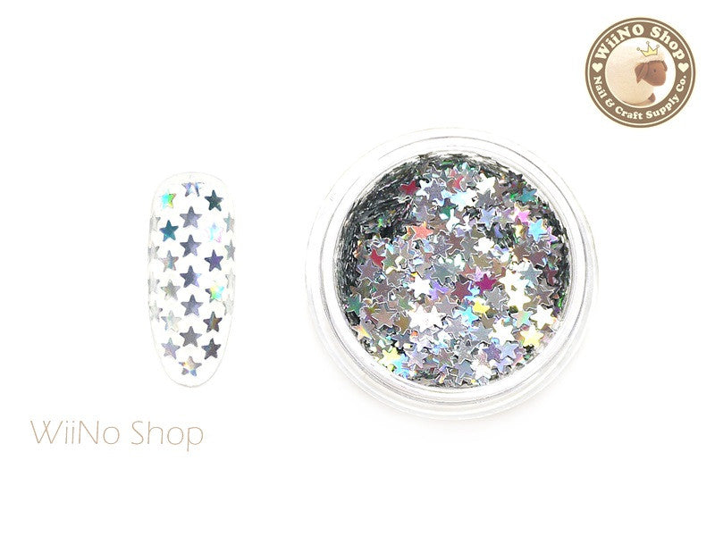 2.5mm Silver Holographic Star Nail Art Glitter