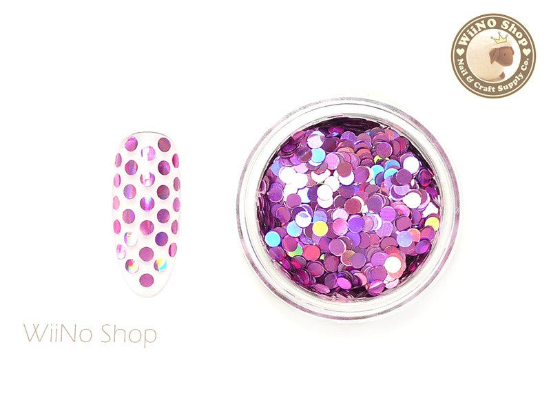 2mm Magenta Pink Holographic Round Dots Glitter