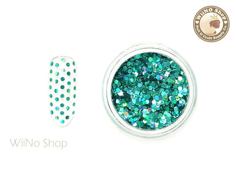 1mm Turquoise Holographic Round Dots Glitter