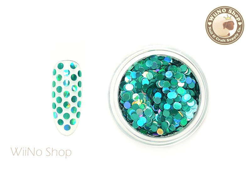 2mm Turquoise Holographic Round Dots Glitter