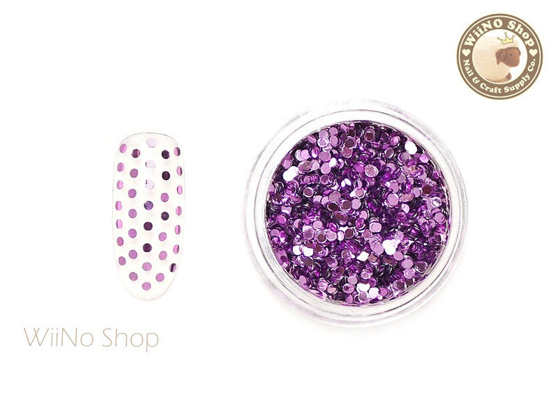 1mm Lilac Pink Round Dots Glitter