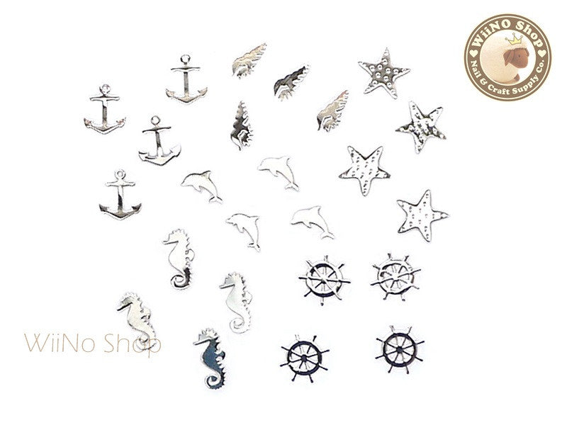Silver Summer Beach Mixed Ultra Thin Metal Decoration Nail Art - 24 pcs