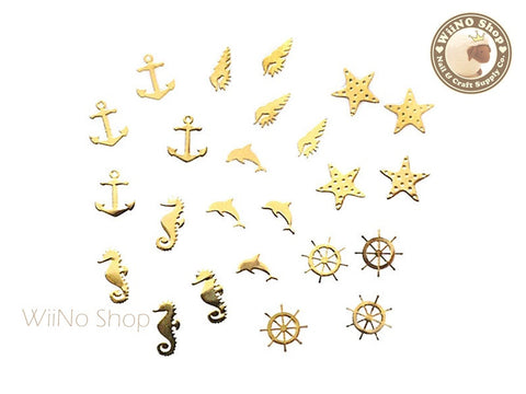 Gold Summer Beach Mixed Ultra Thin Metal Decoration Nail Art - 24 pcs