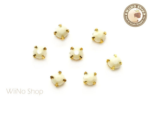 5mm Beige Round Acrylic Rhinestone with Setting - 5 pcs