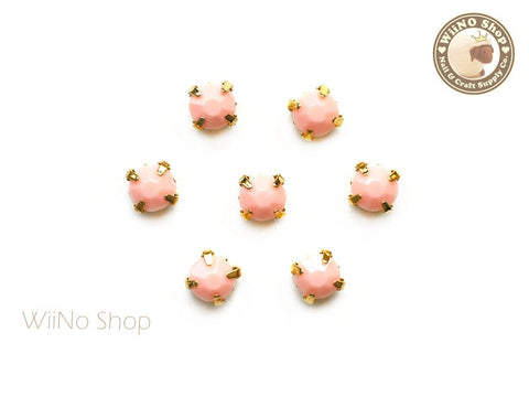 5mm Peach Round Acrylic Rhinestone with Setting - 5 pcs
