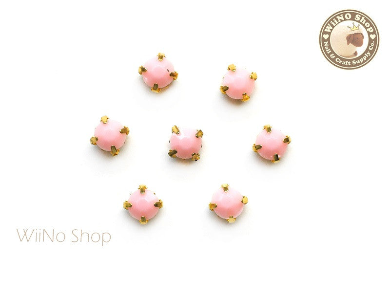 5mm Pink Round Acrylic Rhinestone with Setting - 5 pcs