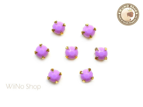 5mm Purple Round Acrylic Rhinestone with Setting - 5 pcs