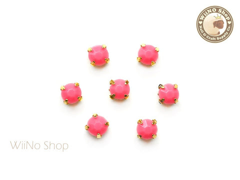 5mm Rose Pink Round Acrylic Rhinestone with Setting - 5 pcs