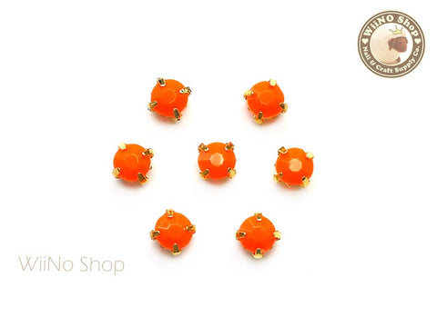 5mm Orange Round Acrylic Rhinestone with Setting - 5 pcs
