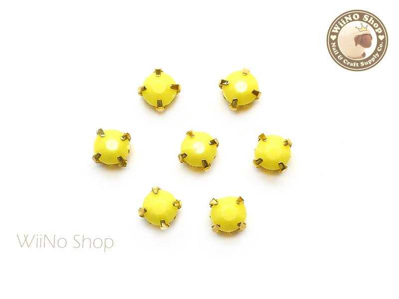 5mm Yellow Round Acrylic Rhinestone with Setting - 5 pcs