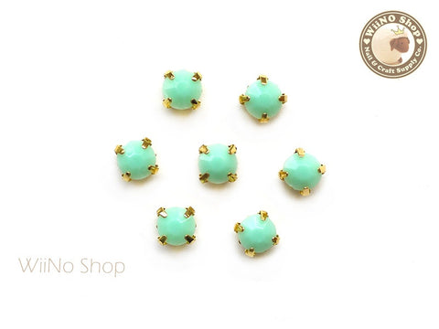 5mm Mint Round Acrylic Rhinestone with Setting - 5 pcs