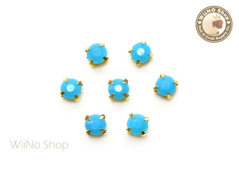 5mm Blue Round Acrylic Rhinestone with Setting - 5 pcs