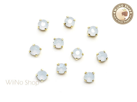 4mm White Opal Round Acrylic Rhinestone with Setting - 5 pcs