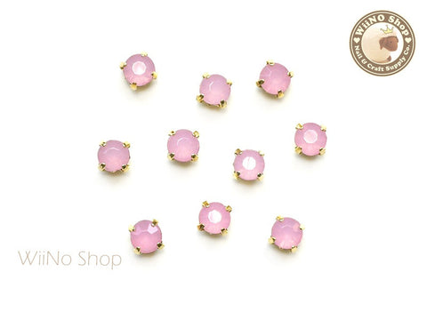 4mm Pink Opal Round Acrylic Rhinestone with Setting - 5 pcs