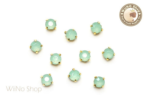 4mm Mint Opal Round Acrylic Rhinestone with Setting - 5 pcs