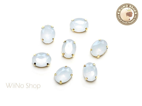 6 x 8mm White Opal Oval Acrylic Rhinestone with Setting - 5 pcs