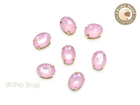 6 x 8mm Pink Opal Oval Acrylic Rhinestone with Setting - 5 pcs
