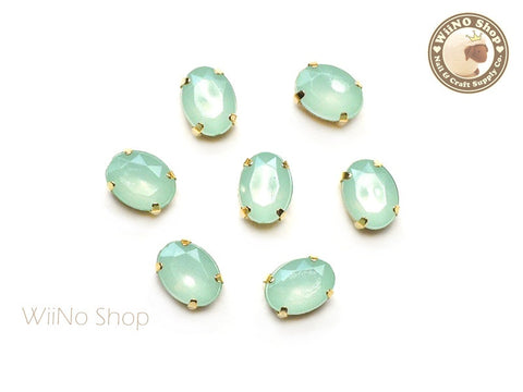 6 x 8mm Mint Opal Oval Acrylic Rhinestone with Setting - 5 pcs