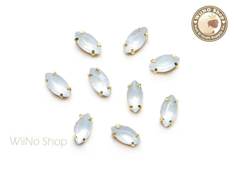 4 x 8mm White Opal Marquise Acrylic Rhinestone with Setting - 5 pcs