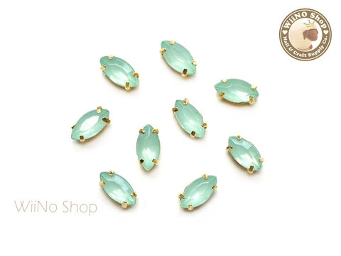 4 x 8mm Mint Opal Marquise Acrylic Rhinestone with Setting - 5 pcs