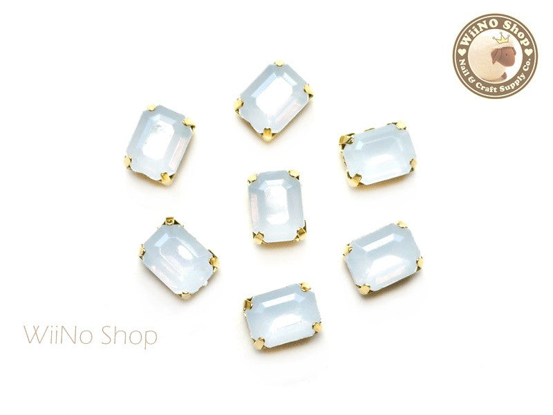 6 x 8mm White Opal Octagon Acrylic Rhinestone with Setting - 5 pcs