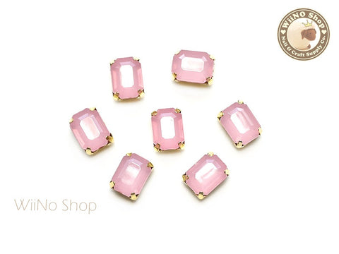 6 x 8mm Pink Opal Octagon Acrylic Rhinestone with Setting - 5 pcs