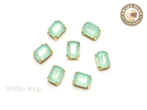 6 x 8mm Mint Opal Octagon Acrylic Rhinestone with Setting - 5 pcs