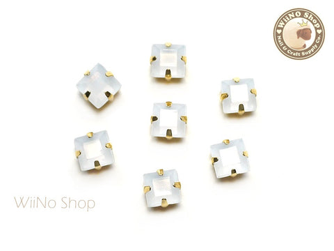 5mm White Opal Square Acrylic Rhinestone with Setting - 5 pcs