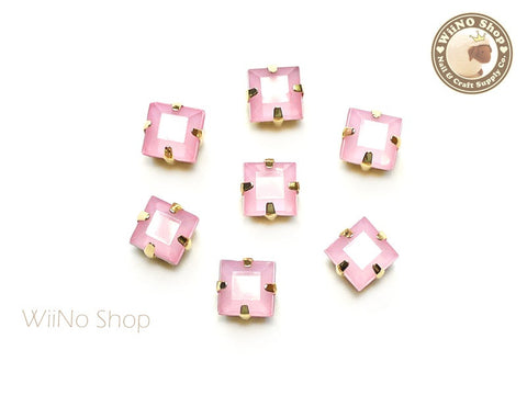 5mm Pink Opal Square Acrylic Rhinestone with Setting - 5 pcs