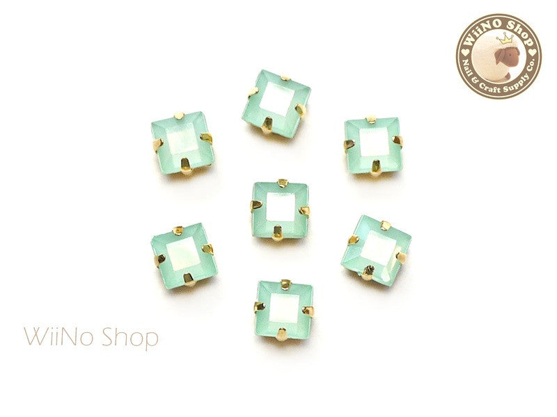 5mm Mint Opal Square Acrylic Rhinestone with Setting - 5 pcs