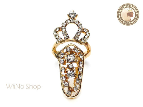 Gold Crown Hollow Nail Tip Ring - 1 pc