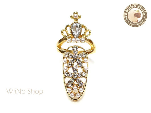 Gold Crown Pearl Hollow Nail Tip Ring - 1 pc