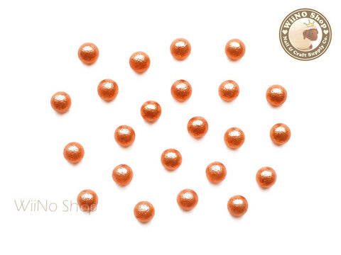 4mm Orange Cotton Pearl Beads Nail Art Decoration (No Hole) - 10 pcs
