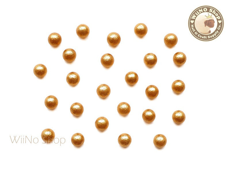 4mm Gold Cotton Pearl Beads Nail Art Decoration (No Hole) - 10 pcs